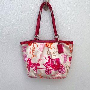 Coach Carriage handbag horse buggy poppy pink